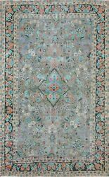Floral Semi-antique Gray Hand-knotted Kashmar Area Rug Wool Oriental Carpet 7x10