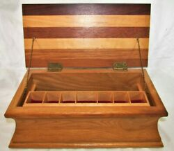 Hand Crafted Wooden Stash Box Mixed Wood Hinged Jewelry Desk Top 13 X 7