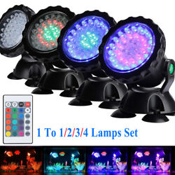36 Led Submersible Rgb Pond Spot Lights Underwater Pool Fountain Ip68+remote Us