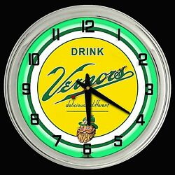 16 Vernors Deliciously Different Ginger Ale Sign Green Neon Clock
