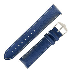 Hirsch Kansas Buffalo-embossed Calf Leather Watch Strap - Blue With White Stitch