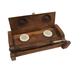 7 Wood Inkwell Stand With Clay Inkwells And Wood Nib Pen - Antique Reproduction
