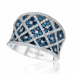 Levian 14k White Gold Round Blue Diamond Classic Beautiful Fancy Cocktail Ring