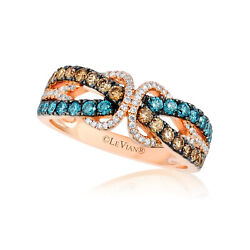 Levian 14k Rose Gold Round Blue Chocolate Brown Diamonds Pretty Cocktail Ring