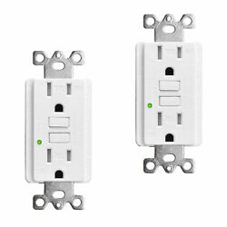 2 Pack Safe Gfi Gfci Outlet 15amp Tamper Resistant Wr Receptacle With Wall Plate