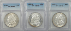 Ms66 1879-s 1880-s 1881-s Morgan Silver Dollar Series Lot Gorgeous Color Toning