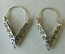Vintage Silver Marked And Tested Pierced Earrings 925 Unique Shape Boho Gypsy 0410