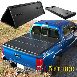 Hard Tri Fold Tonneau Cover For 2016-2021 Toyota Tacoma 5ft Short Bed Pickup Top