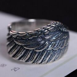 925 Sterling Silver Angel Wings Ring Vintage Menand039s Feather Rings Womenand039s Jewelry