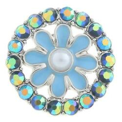Fit Ginger Snap Blue Rhinestone silver 18mm snaps GJL0416 $2.49