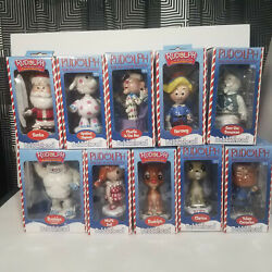 Vintage Rudolph The Red Nosed Reindeer Show Bobbleheads Set Of 10 -toy Site 2002