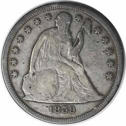 1859-s Liberty Seated Dollar Vg Uncertified