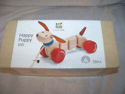 New Happy Puppy Wooden Pull Toy 5101 By Plan Toys Ages 12 Month+