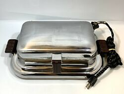 Vintage General Electric 149g37 Table Top Waffler 1946 Chrome Steel Waffle Iron