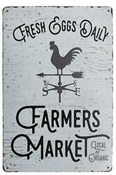 PXIYOU Fresh Eggs Daily Farmers Market Chicken Signs Vintage Metal Tin Sign Kit