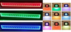 Atv Rzr Polaris Led Offroad Light Bar + 2x Flush Mount Rgb Led Halo Ring Chasing