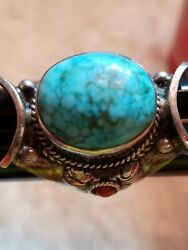 Unique Turquoise Coral Ring With Saddle Setting Southwestern Sterling 925 Size 8