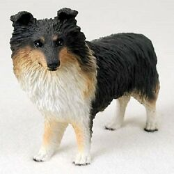 Sheltie Dog Figurine Tri-color Hand Painted Resin Collectible Shetland Sheepdog