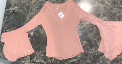 Womens Intimately Free People Dramatic Bell Sleeve Top Sweater Washed Rose Xs.