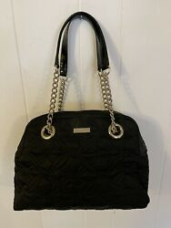 Kate Spade Black Quilted Nylon Bag Gold Chain Straps Mint Condition