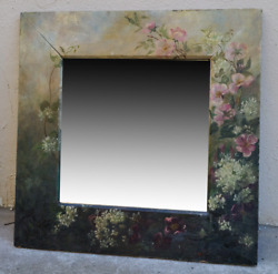 Antique Victorian Floral Oil Painting On Walnut Beveled Wall Mirror Gorgeous