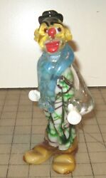 Vintage 7 And 1/4 Glass Clown Figurine - Light Blue Collar, Yellow Hair And Shoes