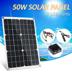Dc 5v / Dc 18v 50w Dual Output Solar Panel With 2 Usb Interface Car Charger A7e2