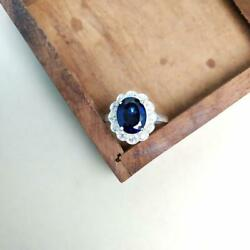 3ct Engagement Ring Oval Cut Blue Sapphire Floral Cluster 14k White Gold Finish