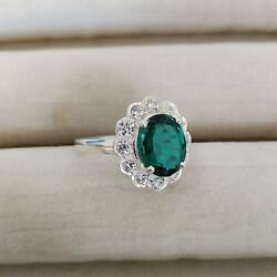 3ct Engagement Ring Oval Cut Green Emerald Floral Cluster 14k White Gold Finish