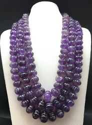 Natural Amethyst Hand Carved Rondelle Shape Beaded Necklace Size 15mm Till 23mm