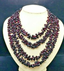 Natural Red Garnet Hand Carved Drop Shape Beaded Necklace Size 4x6mm Till 8x12mm
