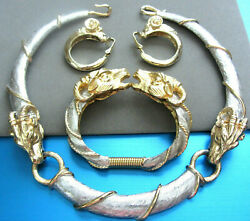 Stunning Signed Donald Stannard Gold Silver Ram's Necklace, Cuff And Earrings Set
