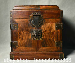 10 Old Chinese Huanghuali Wood Carving Drawer Cupboard Cabinet Storage Box