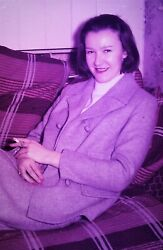 35mm Glass Slide Smiling Young Woman Sitting Back And Smoking On Settee - 1950s