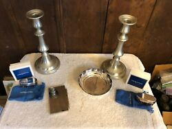 Lot Of Reed And Barton 2 10and039 Candlesticks 2 Shoebuffs In The Box 5and039 Candy Dish A