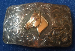 Sacramento Ca Sterling Silver And 10k Gold Fill Cowboy Horse Trophy Western Buckle
