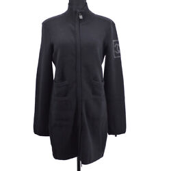 08a 42 Cc Sports Line Zip-up Long Sleeve Jacket Black Authentic Y03048h
