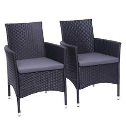 2pcs Patio Chairs Rattan Wicker Sofa Furniture Conversation Cushioned Couch New