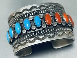 One Of The Best Vintage Navajo Coral Turquoise Sterling Silver Bracelet