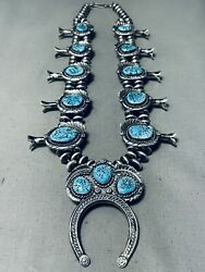 284 Gram Womenand039s Navajo Hand Sterling Silver Turquoise Squash Blossom Necklace