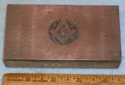Antique Engraved Masonic Blue Lodge Banner Copper Printing Block Mc Lilley Mb042