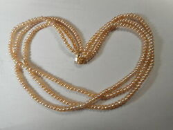 14k Gold Vintage Pink Cultured Button Pearl 3 Strand 18 Necklace 7mm Clasp Mint