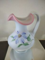 Fenton Art Glass Hand Painted Blue Burmese Satin Dragonfly Pitcher Limited Lilly