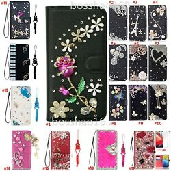 For Alcatel Nice Women Phone Cases Bling Leather Stand Wallet Protective Cover B