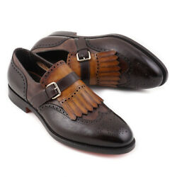 Nib 1450 Santoni Goodyear-welt Brown And Tan Monk Strap Loafer Us 10.5 Shoes