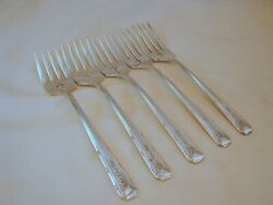 5 Old Oneida Community Silver Milady Salad Forks Excellent Cond 6-1/2in 1940
