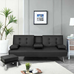 Modern Leather Sofa Bed Fold Up amp; Down Recliner Couch with Cup Holder Footstool