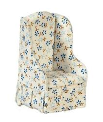Dolls House Cream And Blue Floral Armchair Miniature Chintz Living Room Furniture