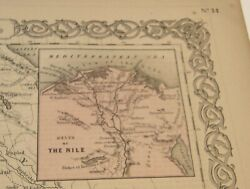 Antique 1859 Hand Colored Colton's General Atlas Engraving Map North East Africa