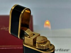 Enamel Black And Gold Oval Gas Lighterignition Confirmedwith Box And Flint